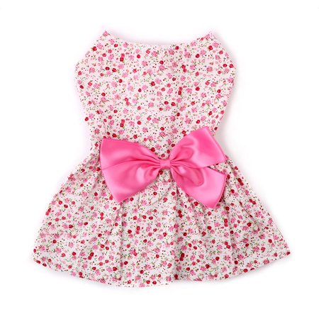 - Small Pet Dog Cat Dresses Clothes Princess Skirt Bowknot Flower Pink M