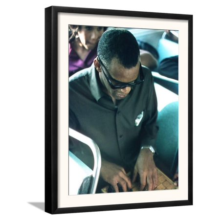 Ray Charles Playing Chess on the Tour Bus Framed Art Print Wall Art  - 15.5x19.5