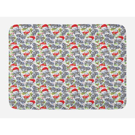 Cars Bath Mat, Christmas Themed Hand Drawn Cars with Santa Hats and Presents on Winter Holiday, Non-Slip Plush Mat Bathroom Kitchen Laundry Room Decor, 29.5 X 17.5 Inches, Lime Green Grey, Ambesonne - Cat With Christmas Hat