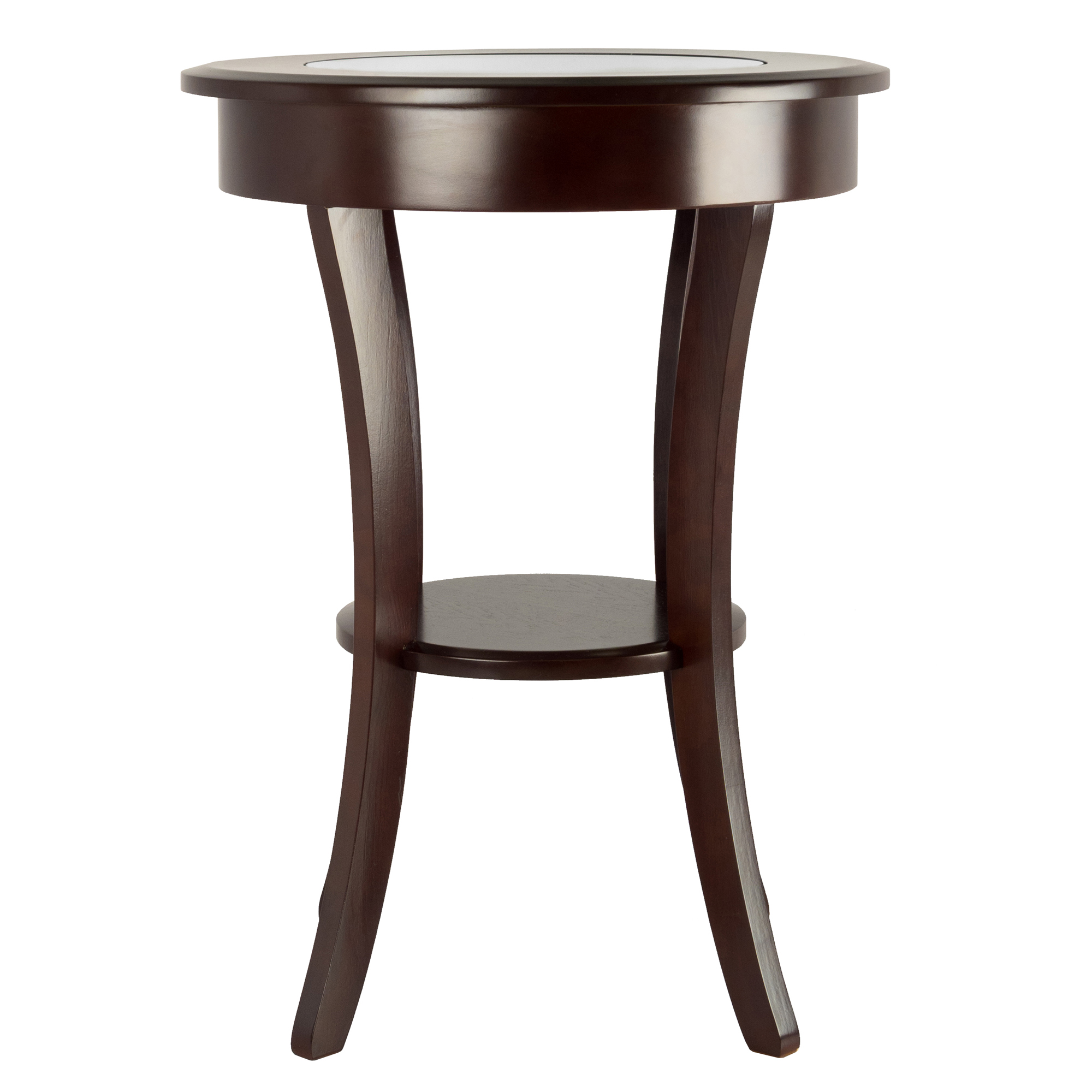 fbf82d06c89f Winsome Wood Cassie Round Accent Table with Glass Top