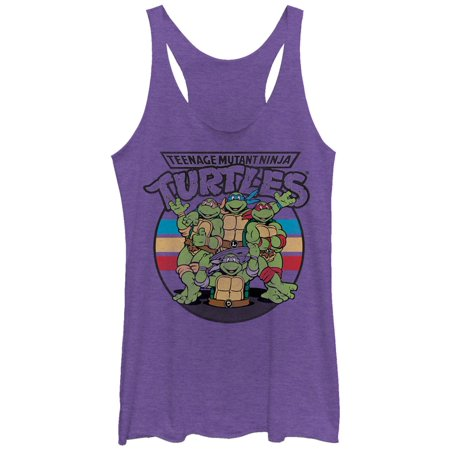 Teenage Mutant Ninja Turtles Women's Group Wave Racerback Tank Top (Womens Ninja Turtle Shirt)