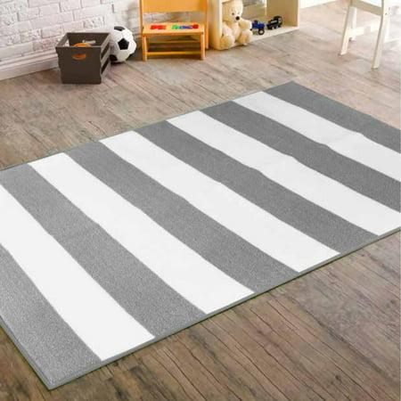 mainstays kids rugby stripe rug grey white. Black Bedroom Furniture Sets. Home Design Ideas