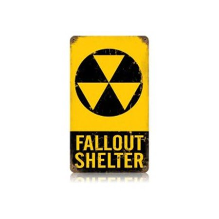 Past Time Signs V122 Fallout Shelter Allied Military Vintage Metal Sign, 8 W X 14 H in. (Fallout Shelter Sign)