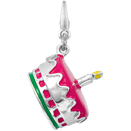 Women's Sterling Silver Enamel Cake Clip-On Charm