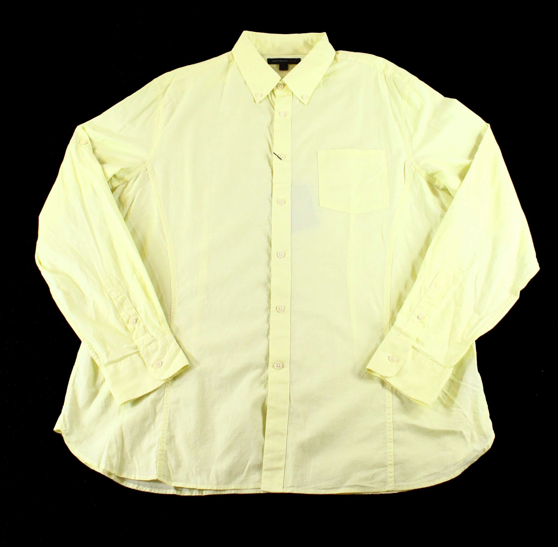 John Varvatos NEW Yellow Mens Size XL Solid Pocket Button-Front Shirt $98 DEAL
