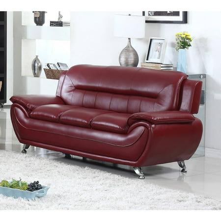 UFE Norton Burgundy Faux Leather Modern Living Room Sofa Burgundy Leather Reclining Sofa