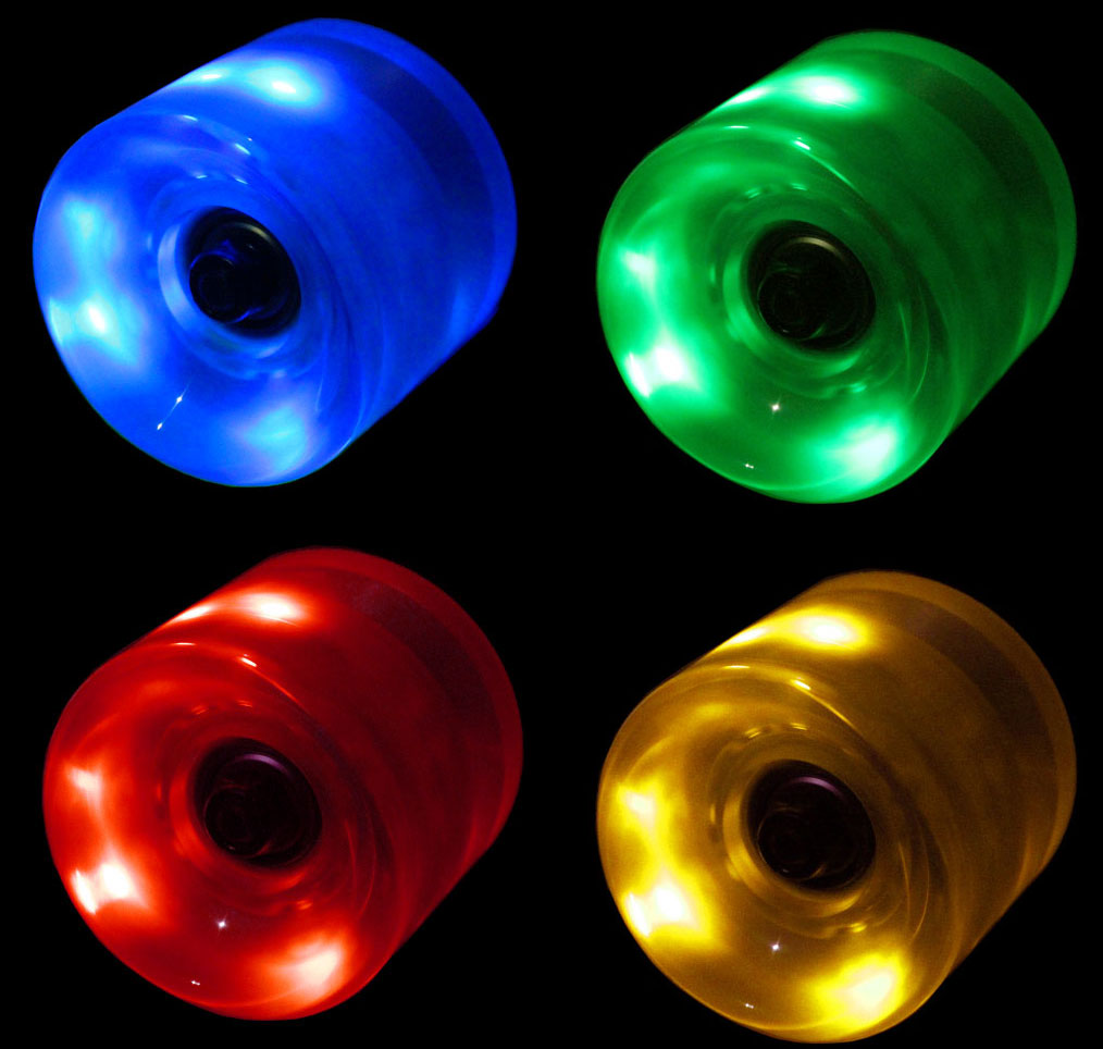 LED Skateboard Wheels 60MM MULTI COLOR Glow Cruiser Longboard LIGHTS with ABEC 9