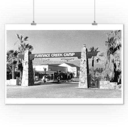 Death Valley, California - Gate Entrance View of Furnace Creek Camp (9x12 Art Print, Wall Decor Travel Poster)