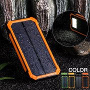Waterproof 300000mah Dual USB Portable Solar Battery Solar Power Bank LED Flashlight + Carabiner + USB Cable for iPhone, Mobile Cell Phone