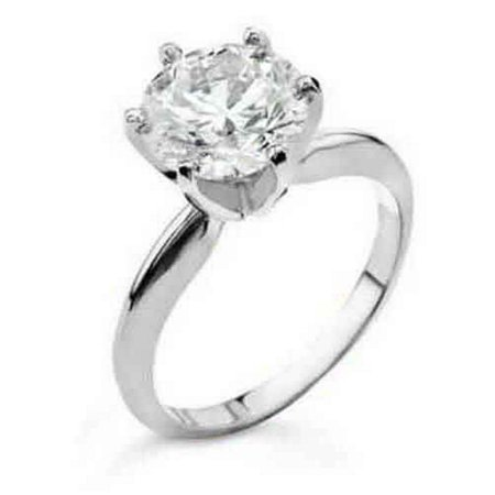 18k White Gold 1 Carat Solitaire Brilliant Round Cut Diamond Engagement Ring