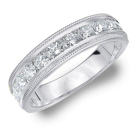 1 CT Diamond Wedding Band, 1 CT Diamond Anniversary Ring with Milgrain