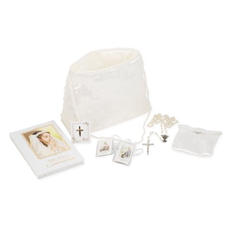 Girls First Communion 6 Pc Set W/ Beaded Purse And Rosary - First Communion Gift For Girls