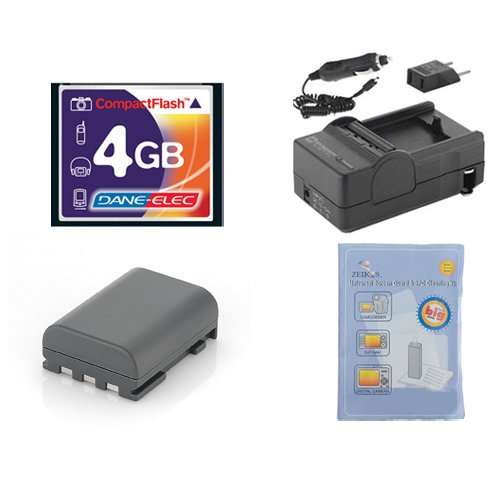Canon Rebel XTi Digital Camera Accessory Kit includes: T44655 Memory Card, ZELCKSG Care & Cleaning, SDM-118 Charger, SDNB2LH Battery
