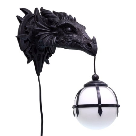 best sneakers fdb47 82194 Ebros Large Sculptural Shadow Basilisk Dragon Wall Sconce Electrical  Spherical Ball Lamp Fantasy Gothic Wall Plaque Decor