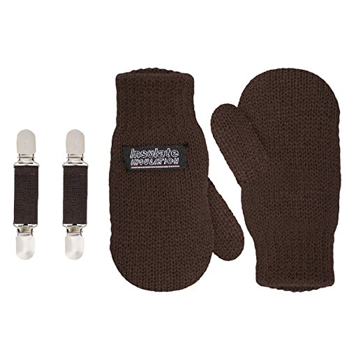 SANREMO Unisex Kids Toddler Knitted Fleece Lined Warm Winter Mittens and Mitten Clips Set, 1-3 Yrs (S 2/4), Brown