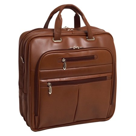 McKlein ROCKFORD, Checkpoint-Friendly Laptop Briefcase, Top Grain Cowhide Leather, Brown