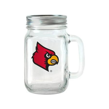 Louisville Cardinals Ncaa Glass (NCAA 16 oz Louisville Cardinals Glass Jar with Lid and Handle,)