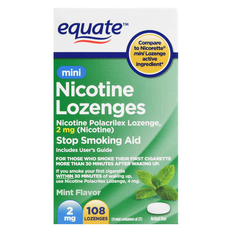 Equate Mini Nicotine Lozenges, Mint Flavor, 2 mg, 108 Ct