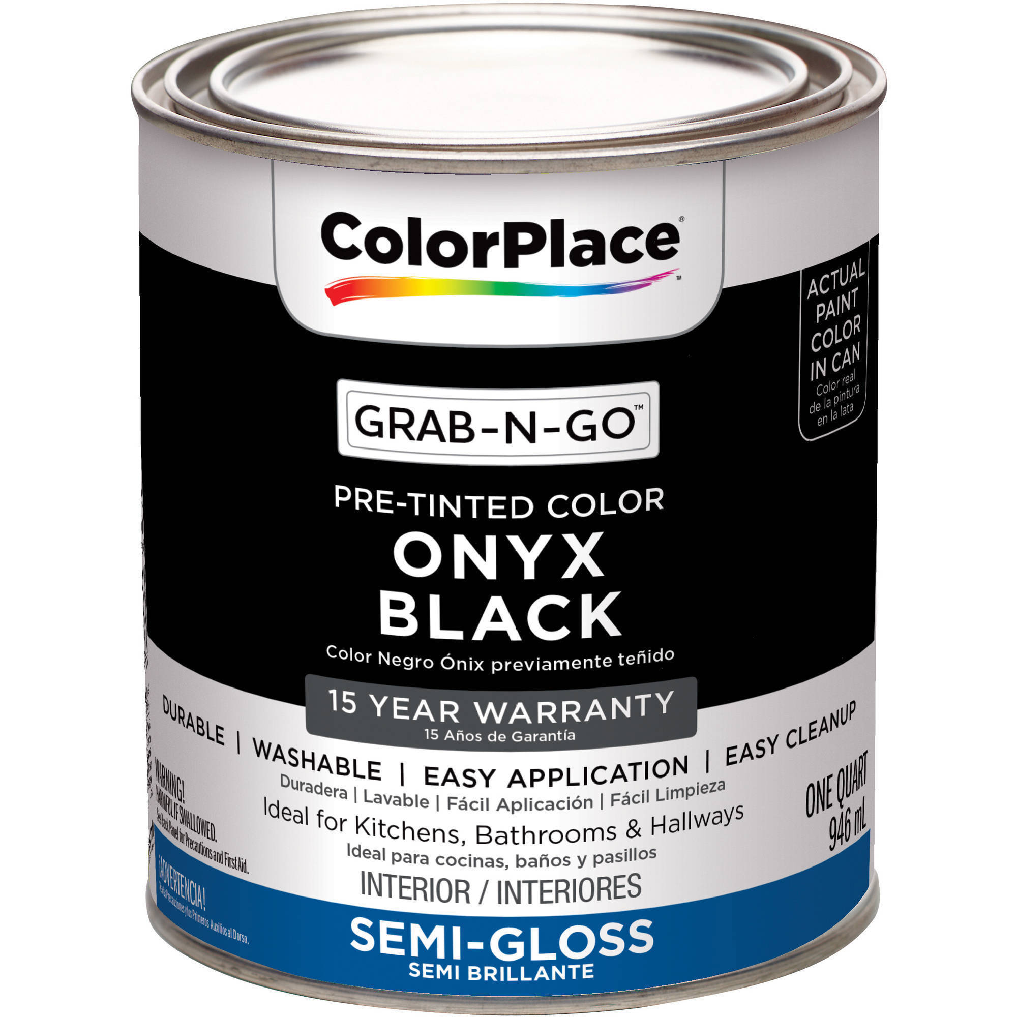 ColorPlace Pre Mixed Ready To Use, Interior Paint, Onyx Black, Semi-Gloss Finish, Quart