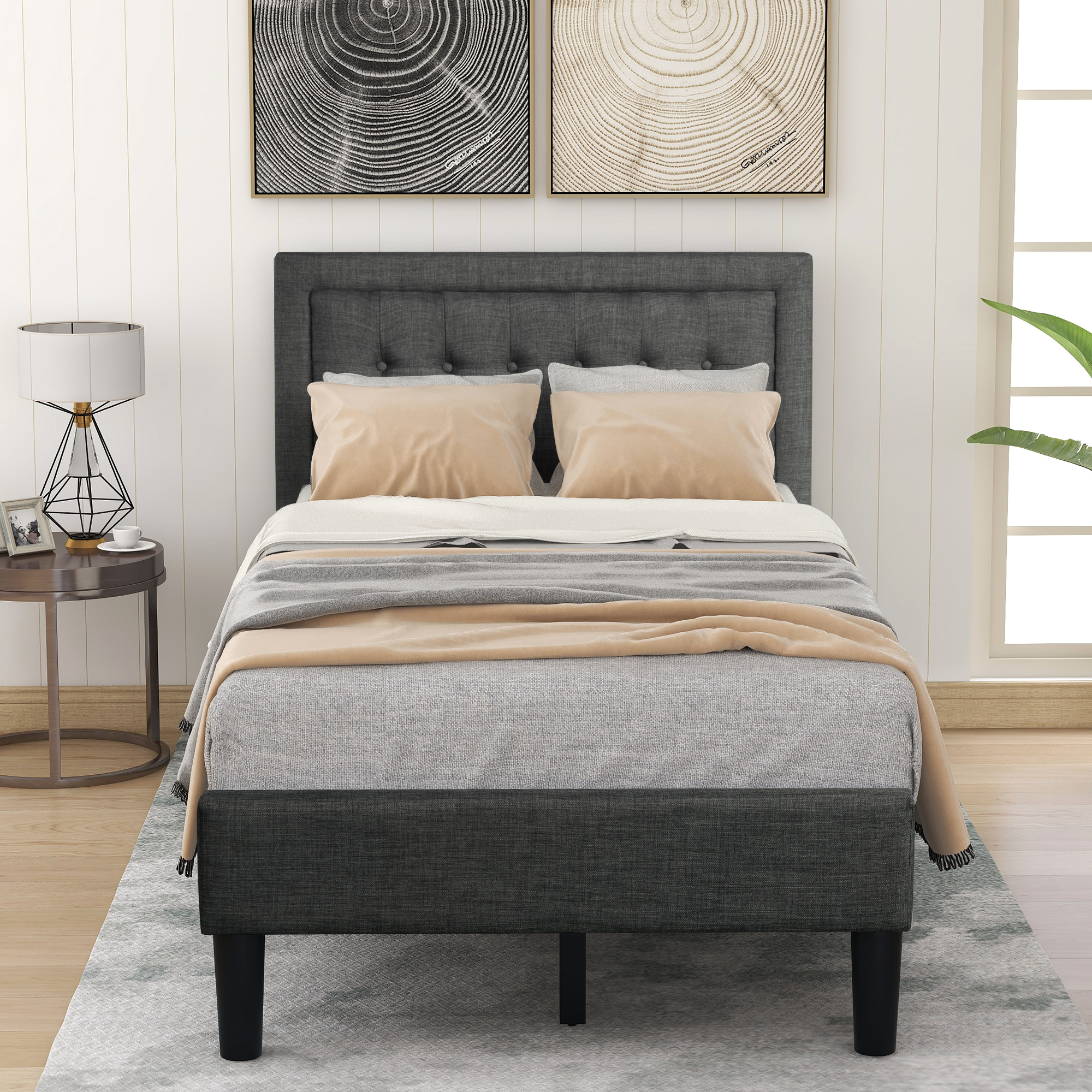 Urhomepro Twin Bed Frame With Headboard Upholstered Twin Platform Bed Frame W Wooden Slat No Box Spring Needed Great For Boys Girls Kids Teens Adults Bedroom Furniture Gray W11831 Walmart Com