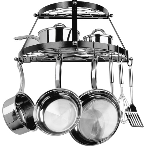 Range Kleen Enameled Steel Double Shelf Wall Pot Rack, Black