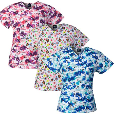 Medgear 3-PACK Womens Printed Medical Scrub Tops with 4 Pockets & ID Loop ()