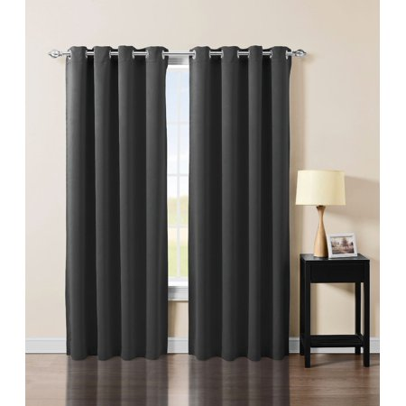 Uv Halloween Blackout (Solid Grommet Top Thermal Insulated Blackout Window Curtain Panel (52