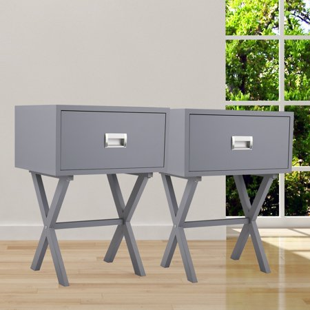 Jaxpety 2PCS End Side Table Nightstand Storage w/ Drawer and Beam Home Decor Furniture Bedside Gray ()
