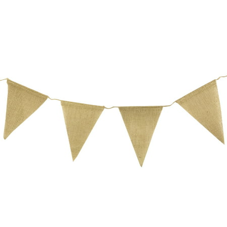 Wrapables® Burlap Triangle Pennant Banner Party Decorations Party Decorations for Weddings, Birthday Parties, Baby Showers, Home Decor, Picnics, and Bake Sales](Burlap Birthday Banner)