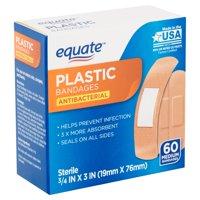 Equate Antibacterial Medium Plastic Bandages, 60 count