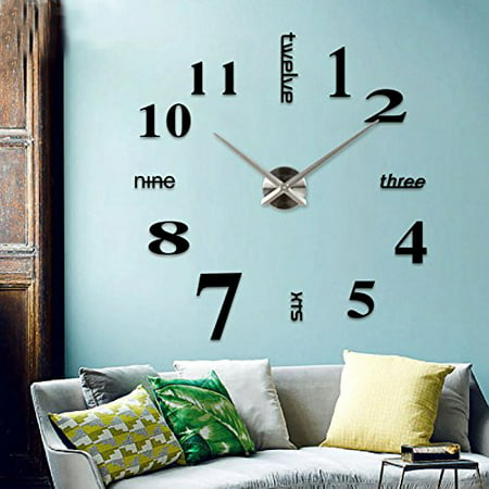 Modern Mute DIY Frameless Large Wall Clock 3d Mirror Sticker for Living Room Bedroom Home Decorations - Diy Cloak