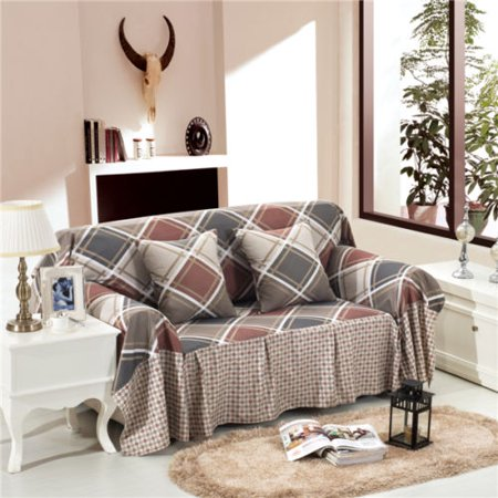 1/2/3/4 Seater Stretch Check Linen Slipcover Sofa Couch Furniture Protect  Cover