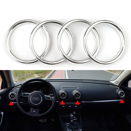 Xotic Tech 4 Pieces Chrome Car Auto AC Air Condition Vent Outlet Decoration  Ring Cover Trim for Audi A3 8V NEW [Silver]