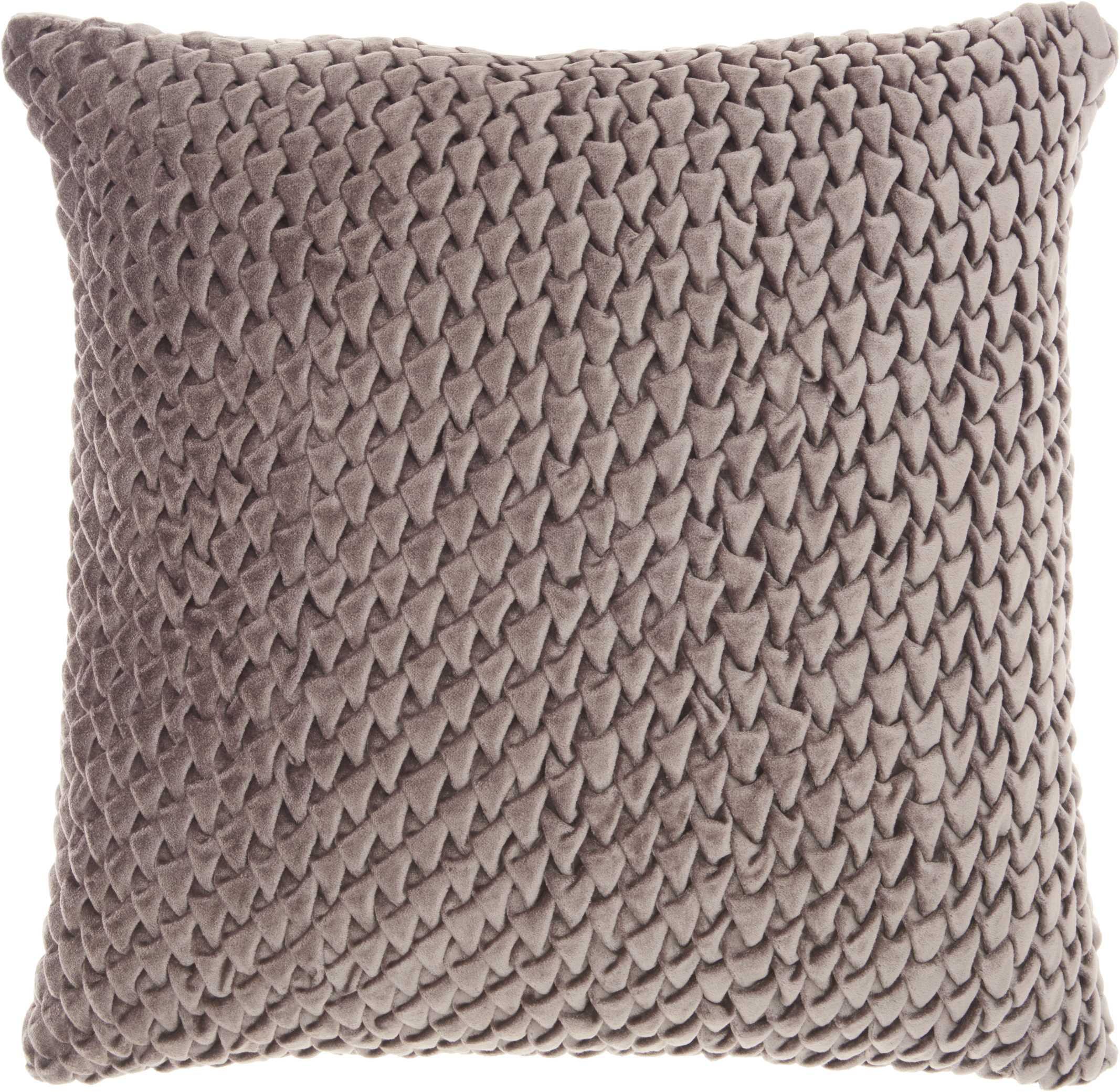 "Nourison Life Styles Pleated Velvet Decorative Throw Pillow, 18"" x 18"", Beige"
