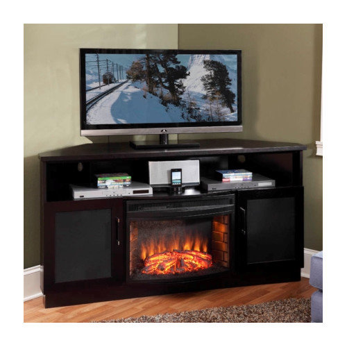 Furnitech 60 in. Contemporary Corner TV Stand - Wenge
