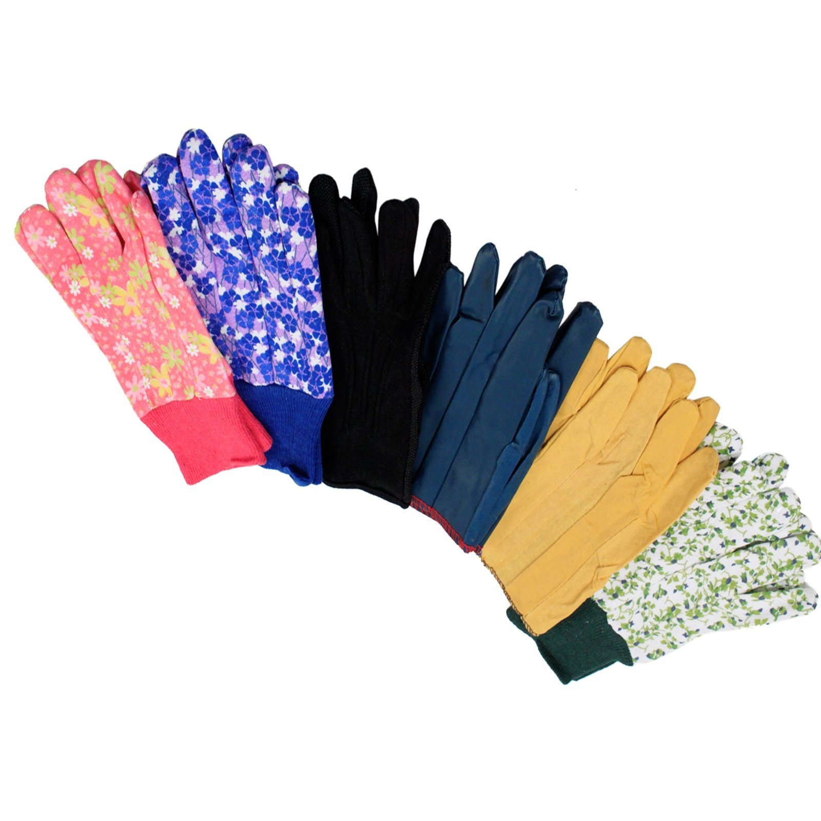 Gardening Gloves Universal Fit Durable Multi-Design Assorted Colors (1 Pair)