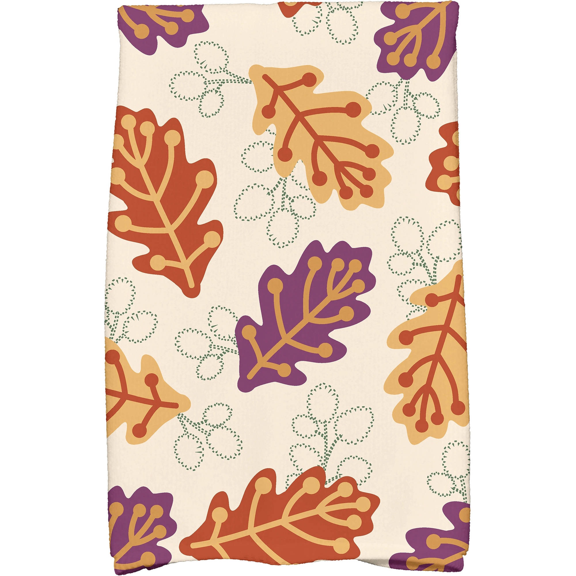 """Simply Daisy 16"""" x 25"""" Retro Leaves Floral Print Kitchen Towel by E By Design"""