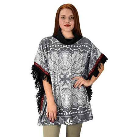 Peach Couture Bohemian Fashion Cowl Neck Winter Ponchos Sweaters Pullovers Paisley Black - image 1 de 1