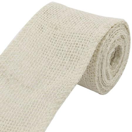 Home Wedding Decoration Burlap Ribbon Roll DIY Craft Beige 2.2 Yards Length