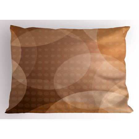 Lr Sham - Tan Pillow Sham Overlapping Circles with Big and Small Polka Dots Pattern Gradient Modern Display, Decorative Standard Size Printed Pillowcase, 26 X 20 Inches, Tan Brown White, by Ambesonne