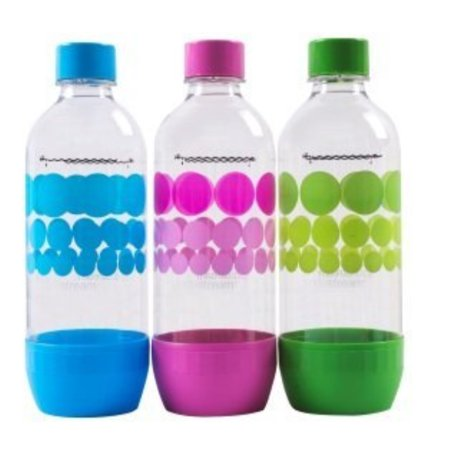 Dark New Year (Original Sodastream Carbonating Bottle Three Pack ( blue, pink, green ) 1 Liter / 3.38oz Lasts Up To 3 Years - New Design Launched)