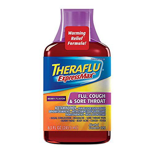 4 Pack Theraflu ExpressMax Flu/Cough/Sore Throat Berry 8.3oz Each -  Walmart.com