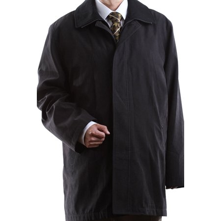 3/4 Length Raincoat - Men's Single Breasted Black 3/4 Length All Year Round Raincoat