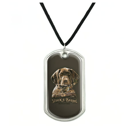 Military Barrel (Stock and Barrel Outfitters Pointer Dog Quail Hunting Military Dog Tag Pendant Necklace with Cord)