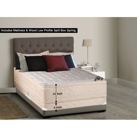 WAYTON, 14-inch Fully Assembled Firm Euro Top Innerspring Double Sided Mattress and 4-inch Split Wood Box Spring/foundation set, |Twin XL Size|