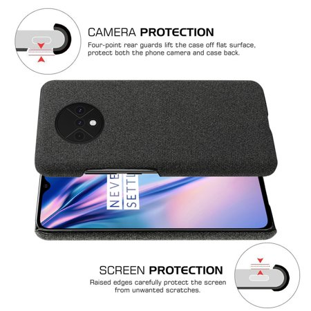 TORUBIA Case for OnePlus 7T {Fully Protective Shockproof dustproof & Screen Protection}Ultra Thin Hard PC Woven Design Anti-scratch Phone Protector Black - image 2 of 7