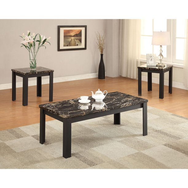 Acme Furniture Carly Faux Marble And Black 3 Piece Coffee And End Table Set Walmart Com Walmart Com