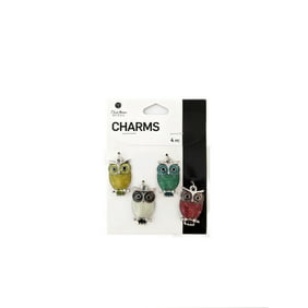 Blue Moon Beads Multi-Color Silver Metal Enamel Owl Charms, 4 Piece