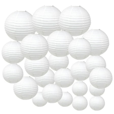 Just Artifacts Decorative Round Chinese Paper Lanterns 24pcs Assorted Sizes (Color: White)](Blue And Green Birthday Decorations)