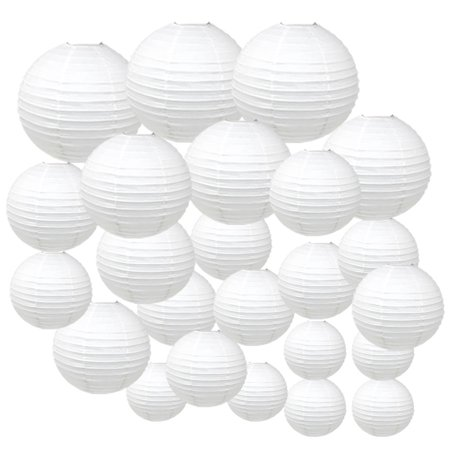 Just Artifacts Decorative Round Chinese Paper Lanterns 24pcs Assorted Sizes (Color: White) - White Paper Lantern